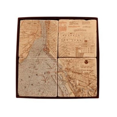 Buffalo Map Tile Coasters