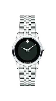 Movado Museum Classic® Stainless Steel Watch, Black Dial, Quartz, 28MM