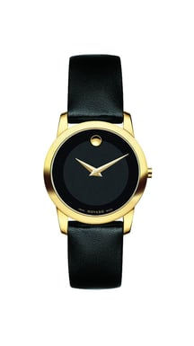 Movado Museum Classic® Yellow Stainless Steel Watch, Black Dial, Black Leather Strap, Quartz, 28MM