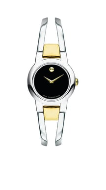 Movado Amorosa® Two-Tone Stainless Steel Watch, Black Dial, Quartz, 24MM