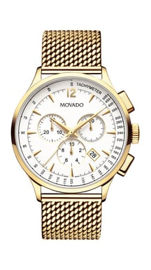 Movado Circa™ Chronograph Yellow Stainless Steel Watch, Ivory Dial, Mesh-Link Bracelet, Quartz, 42MM