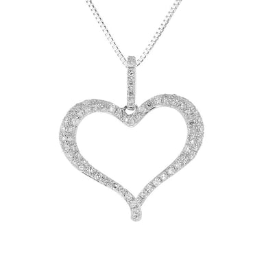 Diamond Heart Pendant Necklace, 14K White Gold, .26CT