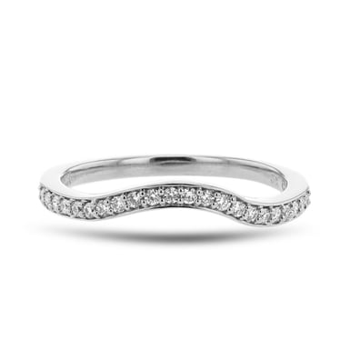 Diamond Curved Band, 14K White Gold, .16TDW