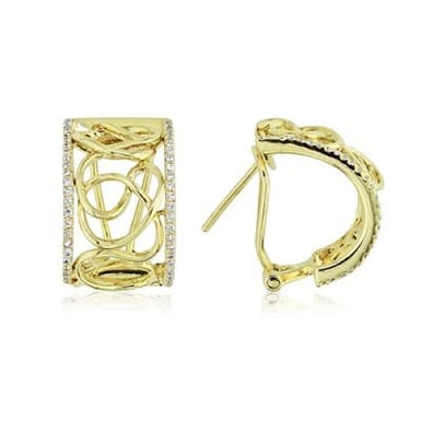18K Yellow Gold and Diamond Band Earrings, .40CT