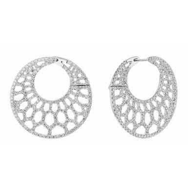 Diamond Hoop Earrings, 18K White Gold, 2.07CT