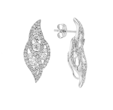 Diamond Leaf Swirl Post Earrings, 18K White Gold, 1.81CT