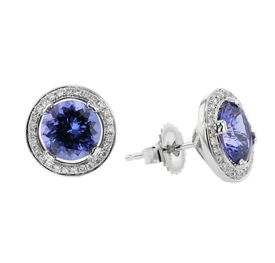 Tanzanite and Diamond Halo Stud Earrings, Round, 14K White Gold, .29TDW