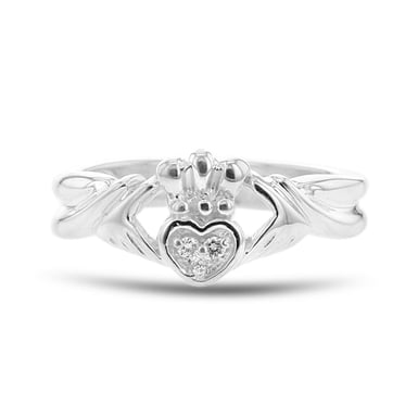 Diamond Accent Claddagh Ring, Sterling Silver, .03TDW