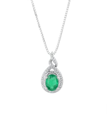 Emerald and Diamond Pendant Necklace, 18K White Gold, .17CT,