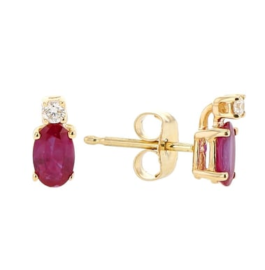 Ruby and Diamond Stud Earrings, 14K Yellow Gold, .04 CT