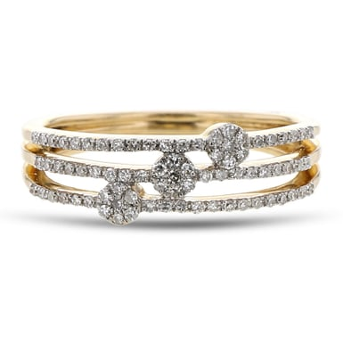 Diamond Pavé Cluster Fashion Stacking Ring, 14K Yellow Gold, .21CTW