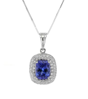 Tanzanite and Diamond Pavé Halo Pendant Necklace, Cushion, 14K White Gold, .56DTW