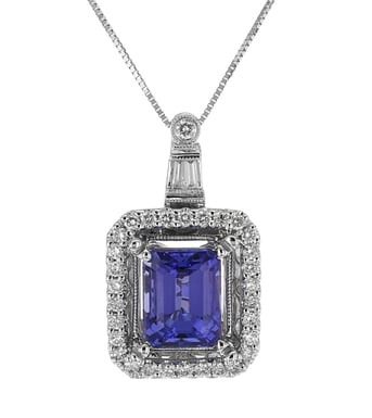 Tanzanite and Diamond Framed Pendant Necklace, 14K White Gold, .48DTW