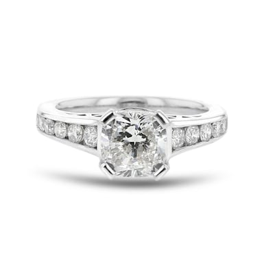 Diamond Accent Engagement Ring, Cushion, 18K White Gold 2.00CT, .56TDW, SI1-I