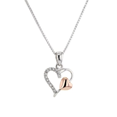 Diamond Accented Heart Nested within a Heart Pendant, Sterling Silver, 14K Rose Gold, .13CT