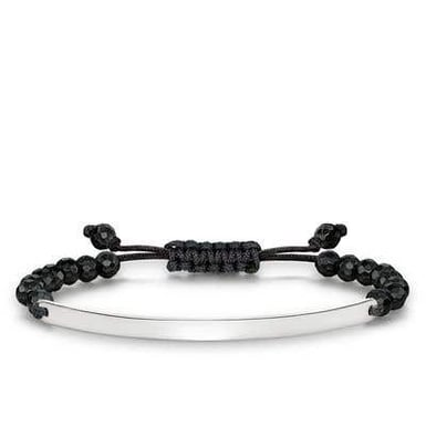 "*Thomas Sabo ""Love Bridge"" Black Faceted Obsidian and Black Cord Bracelet with Sterling Silver Engravable Bar, Small"