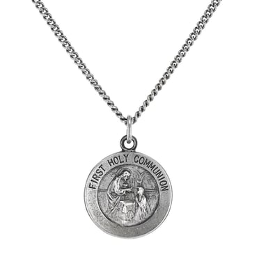 First Holy Communion Commemorative Pendant Necklace, Sterling Silver
