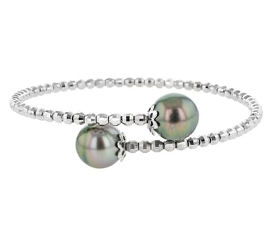 Pearl Wrap Bangle Bracelet, Sterling Silver Beads, Black Tahitian Pearl