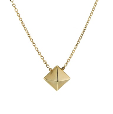 14K Yellow Gold Polished Pyramid Necklace, 7mm
