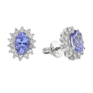 Tanzanite and Diamond Halo Stud Earrings, Oval, 14K White Gold, .42TDW