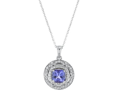 Tanzanite and Double Diamond Halo Pendant Necklace, 14K White Gold, 1.62CT, .32TDW
