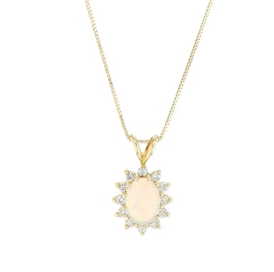 Opal and Diamond Halo Pendant, 14K Yellow Gold, .27CTW