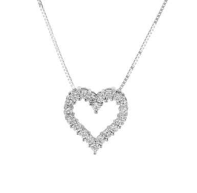 Diamond Heart Pendant Necklace, 14K White Gold, .29CTW