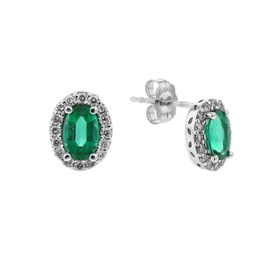 Emerald and Diamond Halo Earrings, Oval, 14K White Gold, .25DTW