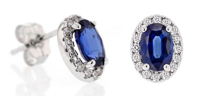 Blue Sapphire and Diamond Oval Halo Stud Earrings, 14K White Gold, .26TDW