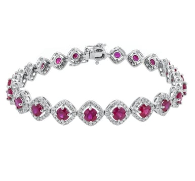 Ruby and Diamond Halo Link Bracelet, 14K White Gold, 1.83CT