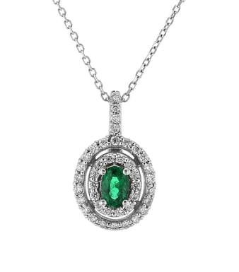 Emerald and Diamond Double Halo Pendant Necklace, 14K White Gold, .41DTW