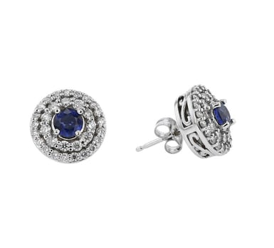 Blue Sapphire and Diamond Double Halo Earrings, 12MM Round, 14K White Gold, .85CT