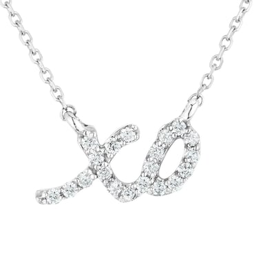 "Diamond ""XO"" Pendant Necklace, Sterling Silver, .10CT"