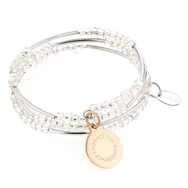 Embrace the Difference® Seed Bead Wrap Bracelet, Clear with Rose Gold Charm