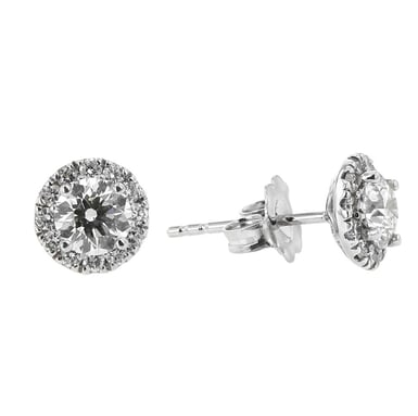 FOREVERMARK Diamond Halo Stud Earrings, 18K White Gold, .85CT, .28TDW