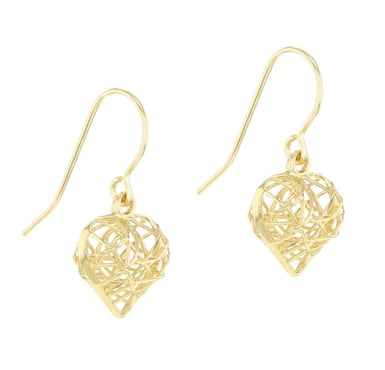 14K Yellow Gold Wrapped Wire Puffed Heart Drop Earrings