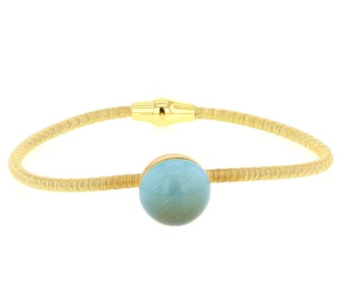 """Bella Moderna"" Yellow Gold Wire Wrap Omega Bracelet with Turquoise Blue Quartz Bead"