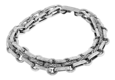Men's Sterling Silver and Stainless Steel Chain Link Bracelet