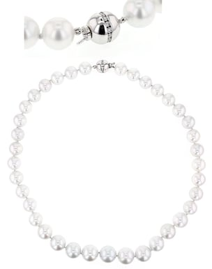 Pearl Strand Necklace with 18K White Gold Diamond Clasp