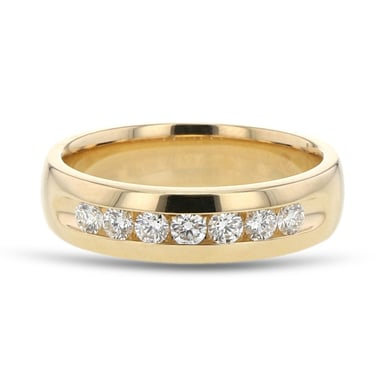Men's Diamond Channel Wedding Band Ring, 7 Stones, 14K Yellow Gold, .50CTW
