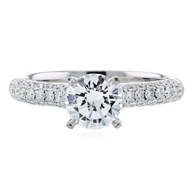 Diamond Engagement Ring Setting, Diamond Three-Sided Shoulder, 14K Gold, .48CT