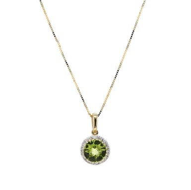 Peridot and Diamond Halo Pendant Necklace, 14K Yellow Gold, .10CT