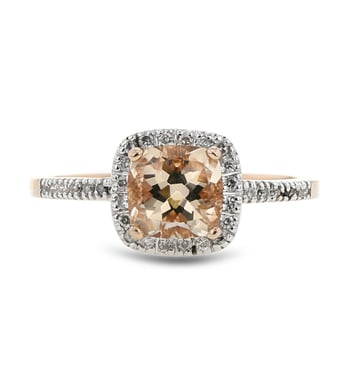 Pink Morganite and Diamond Halo Ring, 14K Rose Gold, .12CT