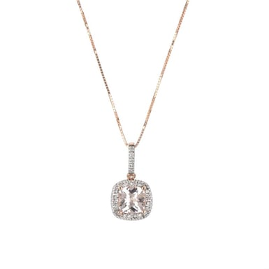 Pink Morganite and Diamond Pendant Necklace, 14K Rose Gold, .09DTW