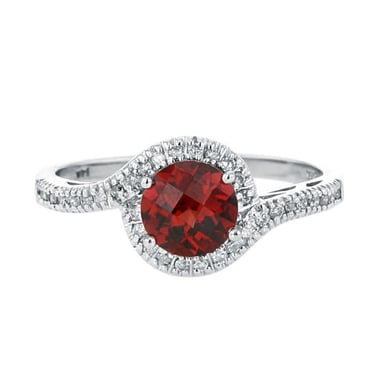 Garnet and Diamond Halo Swirl Ring, 14K White Gold, .12CT