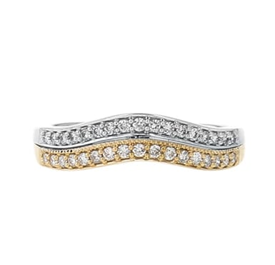 Diamond Wedding Band Ring, Two-Row Curved, 14K Two-Tone Gold, .24CT