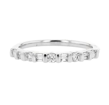Diamond Wedding Band Ring, Half-Eternity, Alternating Round and Baguette, Bar-Set, 14K Gold, .25CT