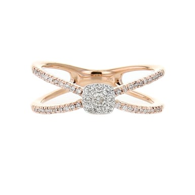 Diamond X Crossover Ring, 14K Rose Gold, .32CT, size 7