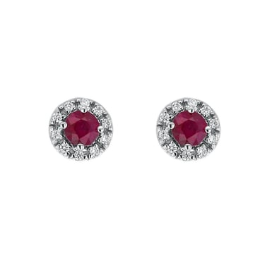 Ruby and Diamond Round Halo Earrings, 10MM, 14K White Gold, .20CT