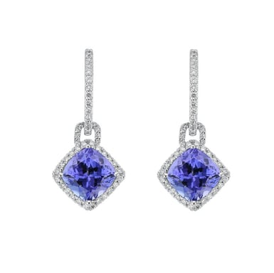 Tanzanite and Diamond Drop Earrings, 14K White Gold, .83CT
